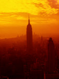 Silhouette of New York City Skyline at Sunset