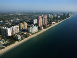 Aerial View Along Coast of Fort Lauderdale  Florida
