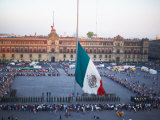 Display of Traditional Mexican Flag in Plaza  Mexico City