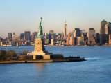 Historic Statue of Liberty in Front of the Skyline of Manhattan  New York
