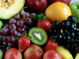 Variety of Fresh Fruits Including Berries with Grapes and Honeydew