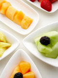 Variety of Fresh Fruits Including Blackberries and Cantaloupe