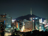 Buildings Illuminated by Lights at Night in Seoul  Korea