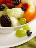 Salad with a Variety of Fruits Including Blackberries  Blueberries and Grapes