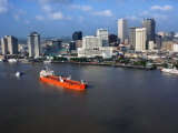 Aerial View of Ship on the Mississippi River by New Orleans
