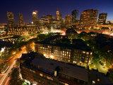 Buildings and High Rises Illuminated at Night in Boston  Massachusetts