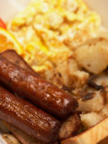 Close-Up of Traditional Breakfast Foods Including Sausage and Eggs