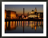 "Night View of Albert Dock and the ""Three Graces "" Liverpool  United Kingdom"