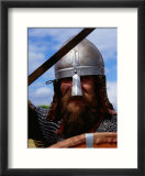 Viking in Battle Dress at Foteviken Viking Market  Skane  Sweden