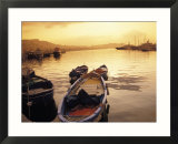 Sunset Setting over Two Boats at a Fishing Harbour and Marina on the Bay of Naples in Naples  Italy