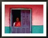 Young Maya Woman in Doorway of Home Zinacantan  Chiapas  Mexico