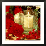 Christmas Arrangement of Red Dianthus  Carnation  Ilex Berries with Lit Candle in Glass Holder