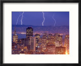 With the San Francisco Skyline in the Foreground  Lightning Strikes Over the Hills of Oakland  Ca