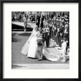 Prince Rainier of Monaco and Grace Kelly Leaving the Church after Their Wedding  April 1956