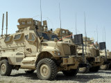 Mine Resistant Ambush Protected Vehicles Sit in the Parking Area at Joint Base Balad  Iraq