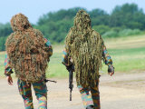 Two Snipers of the Belgian Army Dressed in Ghillie Suits