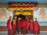 Monks at Tibetan Buddhist Monastery  Kathmandu  Nepal