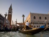 Gondolas and St Mark's Campanile  Venice  Italy