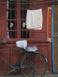 Bicycle and Wall  Old Town  Dali  Yunnan Province  China