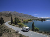 Camper Van on Road by Lake Wanaka  South Island  New Zealand