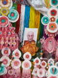 Butter Sculptures Suround Photo of the Dalai Lama  Kathok Wodsallin Gompa  Yuksam  Sikkim  India