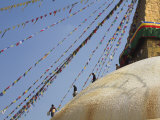 Men with Buckets of Limewash  Sherpa New Year Festival  Bodhnath Stupa  Kathmandu