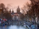 Oudezijds Achterburgwal Canal and Saint Nicholas  Amsterdam  Holland