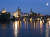 Old Town and Charles Bridge at Dusk  Prague  Czech Republic