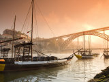 Porto Wine Carrying Barcos  River Douro and City Skyline  Porto  Portugal