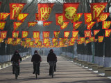 Bicycle Riders at Entranceway to Festival  Ice and Snow Festival  Harbin  Heilongjiang  China