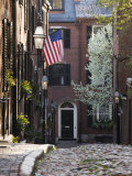 Spring  Acorn Street  Beacon Hill  Boston  Massachusetts  USA
