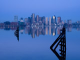 East Boston  Financial District from Logan Airport  Boston  Massachusetts  USA