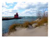 Holland Harbor Lighthouse-Big Red-Lake Michigan