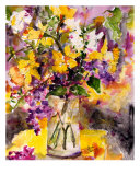 Daffodils & Lilac Still Life Watercolor Painting