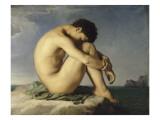 Jeune homme nu assis au bord de la mer - Etude