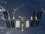 International Space Station  Backdropped by a Blue and White Earth
