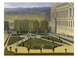 Promenade de Louis XIV en vue du Parterre du Nord dans les jardins de Versailles vers 1688