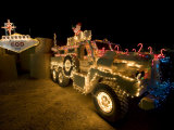 Cougar Mine Resistant Ambush Protected Vehicle Adorned in Holiday Lights