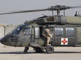 UH-60 Blackhawk Medivac Helicopter Refuels at Camp Warhorse after a Mission