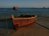 Fishing Boat on the Beach of the Indian Ocean in Zanzibar Island  Tanzania  Africa