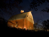 Antique Peg Barn Is Lit at Twilight  Princeton  Nebraska  USA