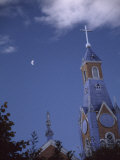 First Quarter Moon Rising Near a Church Steeple  Chile