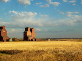 Grain Elevators Stand in a Prairie Ghost Town  Rowley  Alberta  Canada