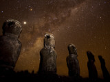 On Easter Island  Mysterious Statues Stand Beneath a Starry Sky  Easter Island