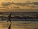 Five Year Old Boy Runs Through the Surf  Tybee Island  Georgia