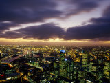 Winter Storm Clouds Roll in over the Melbourne Skyline at Night  Melbourne  Victoria  Australia