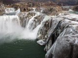 Shoshone Falls in Winter  Frozen Mist Forms Icy Surfaces on Rock  Shoshone Falls  Twin Falls  Idaho
