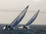 Two Sailboats Race Upwind Towards the Golden Gate Bridge  San Francisco Bay  California