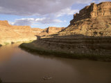 Whitewater Raft Floats Through a Flat Section of the Colorado River
