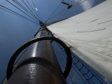 Looking Up the Mast of a Tall Ship  Long Island Sound  Connecticut  USA